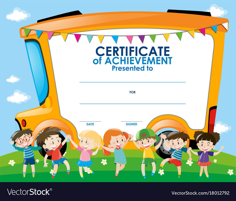 Certificate Template With Children And School Bus With Certificate Templates For School