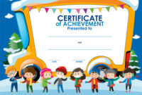 Certificate Template With Children In Winter within Certificate Of Achievement Template For Kids