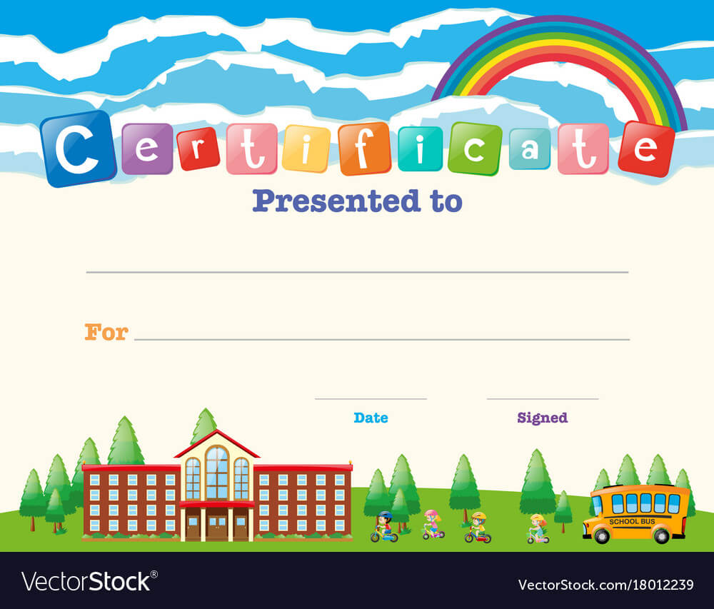 Certificate Template With Kids At School For Certificate Templates For School