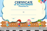 Certificate Template With Kids Skating with regard to Certificate Of Achievement Template For Kids