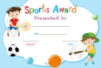 Certificate Template With Two Boys Playing Sports with Athletic Certificate Template