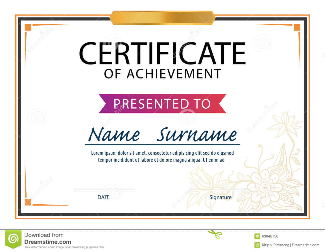 Certificate Template,diploma Layout,a4 Size Stock Vector With Regard To Certificate Template Size