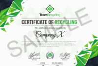 Certifications | Team Recycling with Certificate Of Disposal Template