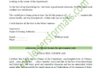 Character Certificate For Employee / Govt Job / Student (Sample) with Certificate Of Employment Template