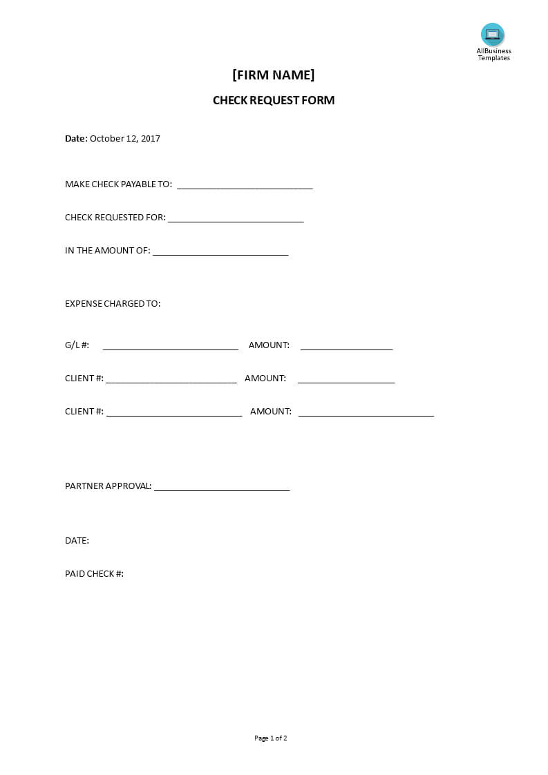 Check Request Form | Templates At Allbusinesstemplates With Regard To Check Request Form Template