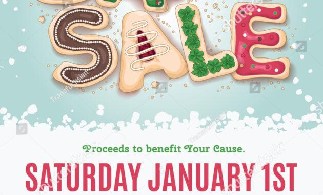 Christmas Holiday Bake Sale Flyer Template Stock Vector throughout Bake Sale Flyer Template Free