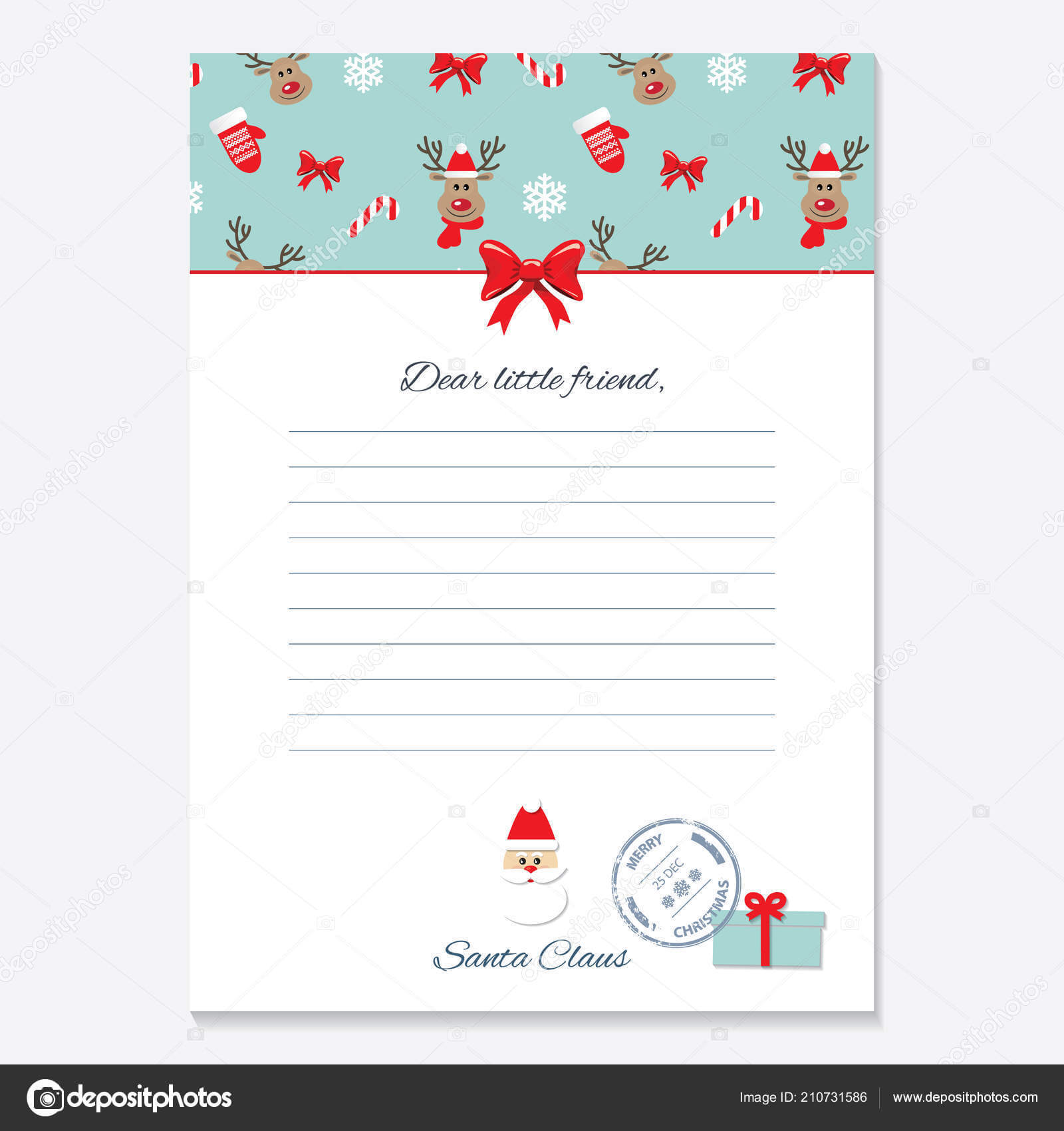 Christmas Letter From Santa Claus Template. — Stock Vector Inside Blank Letter From Santa Template