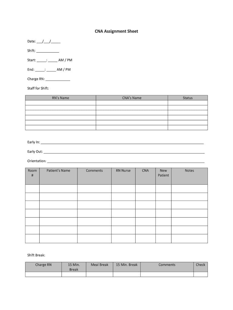 Cna Assignment Sheet – Fill Online, Printable, Fillable Pertaining To Charge Nurse Report Sheet Template
