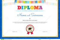 Colorful Diploma Certificate Template For Kids In Vector with regard to Certificate Of Achievement Template For Kids