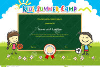 Colorful Kids Summer Camp Diploma Certificate Template In within Basketball Camp Certificate Template