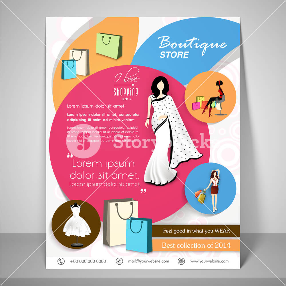 Colourful Banner And Flyer For Boutique With Young Woman In Boutique Flyer Template Free