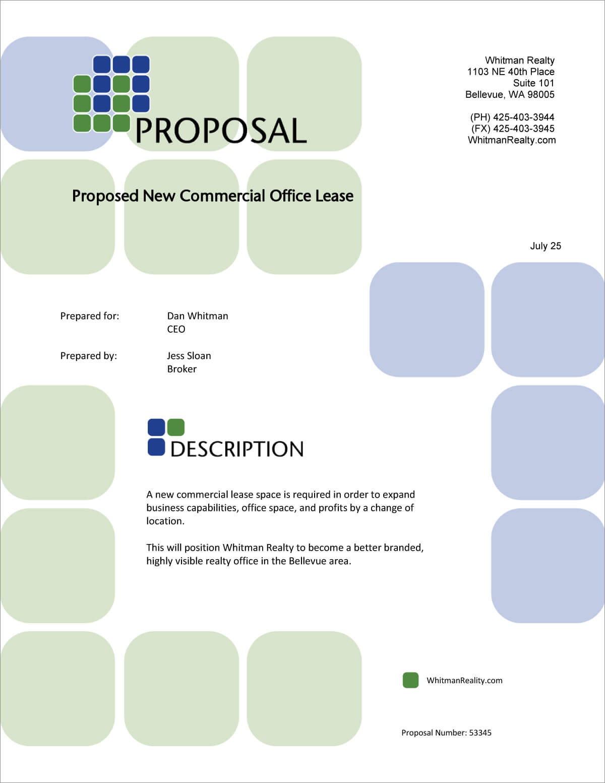 Commercial Office Real Estate Lease Proposal – 5 Steps In Business Lease Proposal Template