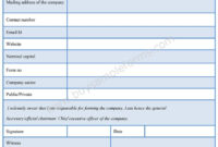 Company Registration Form – Sample Forms inside Business Information Form Template