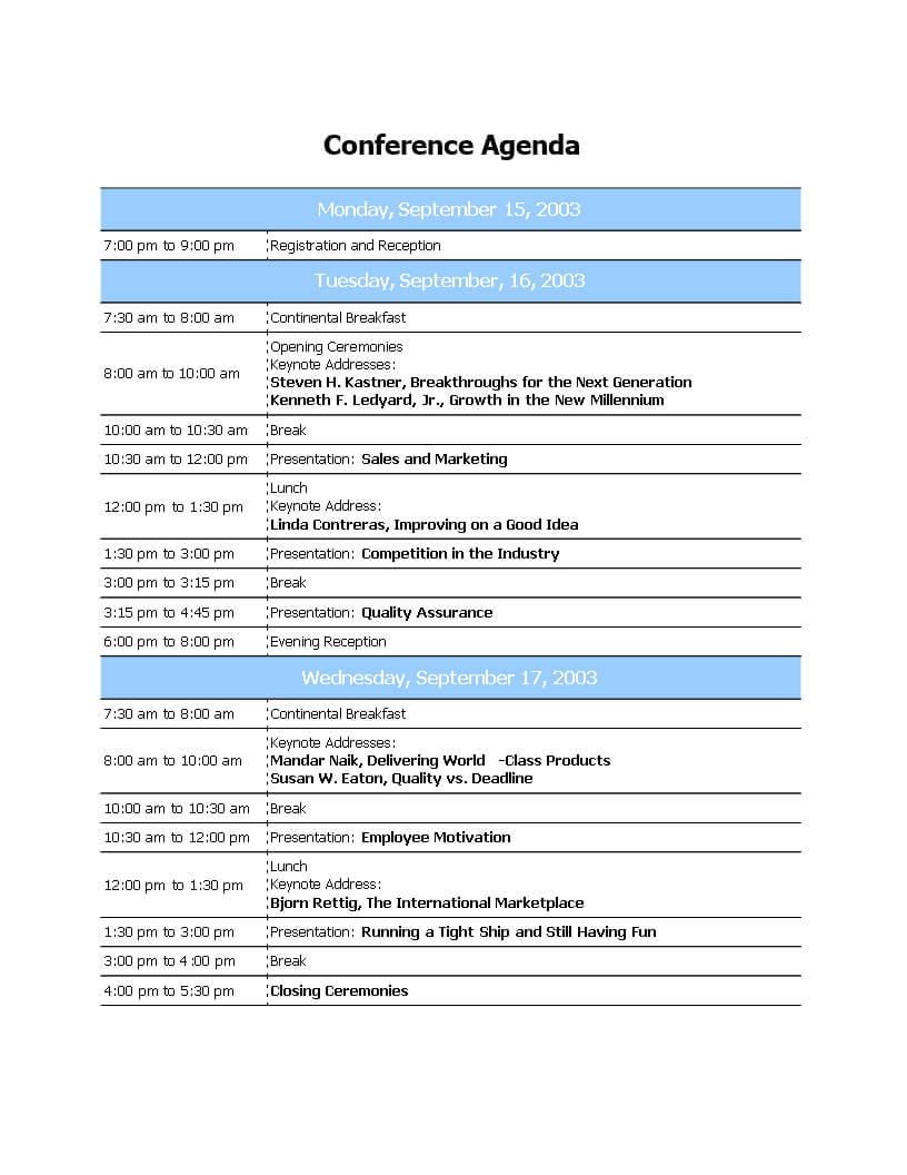 Conference Agenda Template Free Download Call Word Ppt Pertaining To Agenda Template Word 2007
