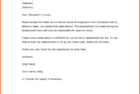 Costume Example Of Resignation Letter Two Weeks Notice 5 throughout 2 Week Notice Letter Template