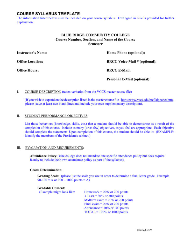 Course Syllabus Template - Blue Ridge Community College Pertaining To Blank Syllabus Template