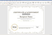 Create A Certificate Of Recognition In Microsoft Word for Certificate Of Achievement Template Word