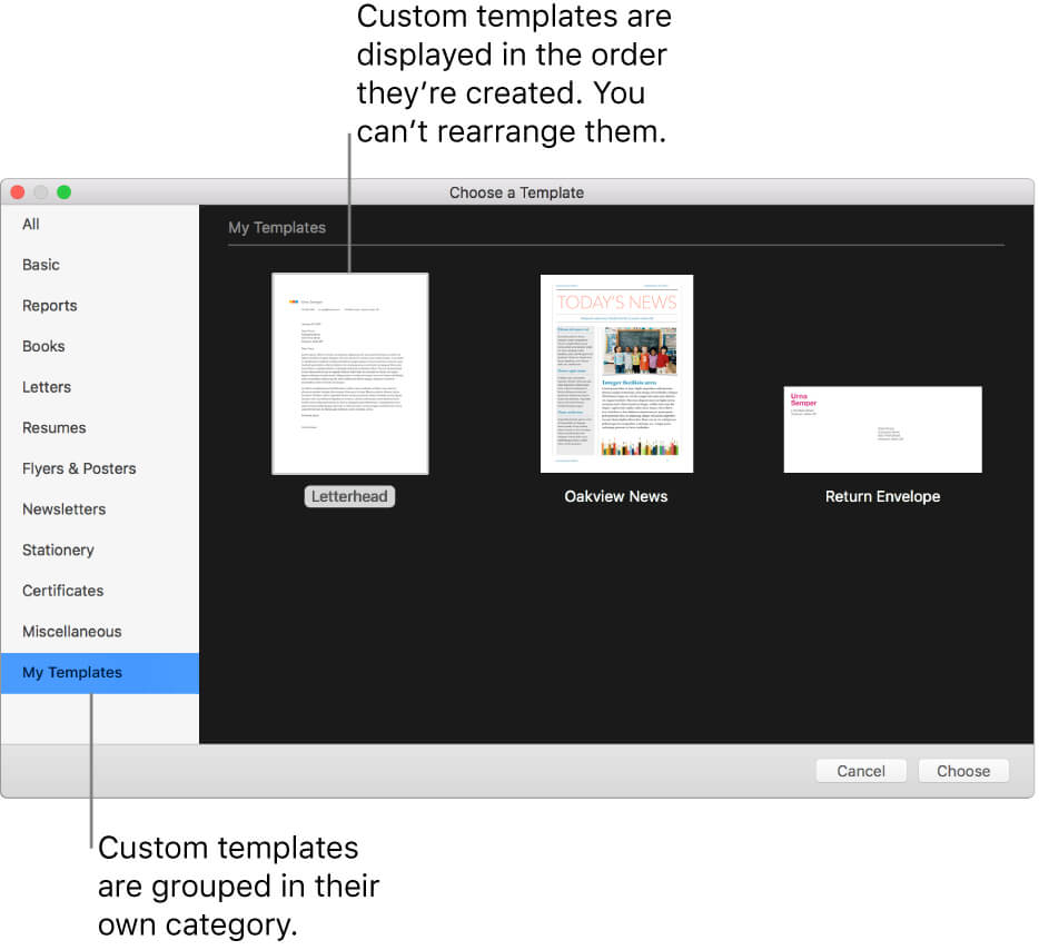 Create A Custom Template In Pages On Mac - Apple Support Regarding Business Card Template Pages Mac