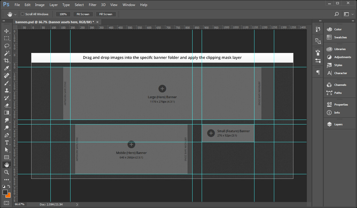 Creating Banner Images Using A Template - Documentation For Intended For Adobe Photoshop Banner Templates
