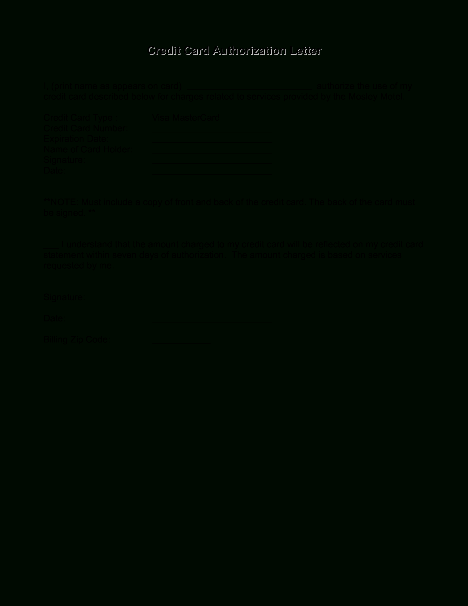 Credit Card Authorization Letter | Templates At With Authorization To Charge Credit Card Template