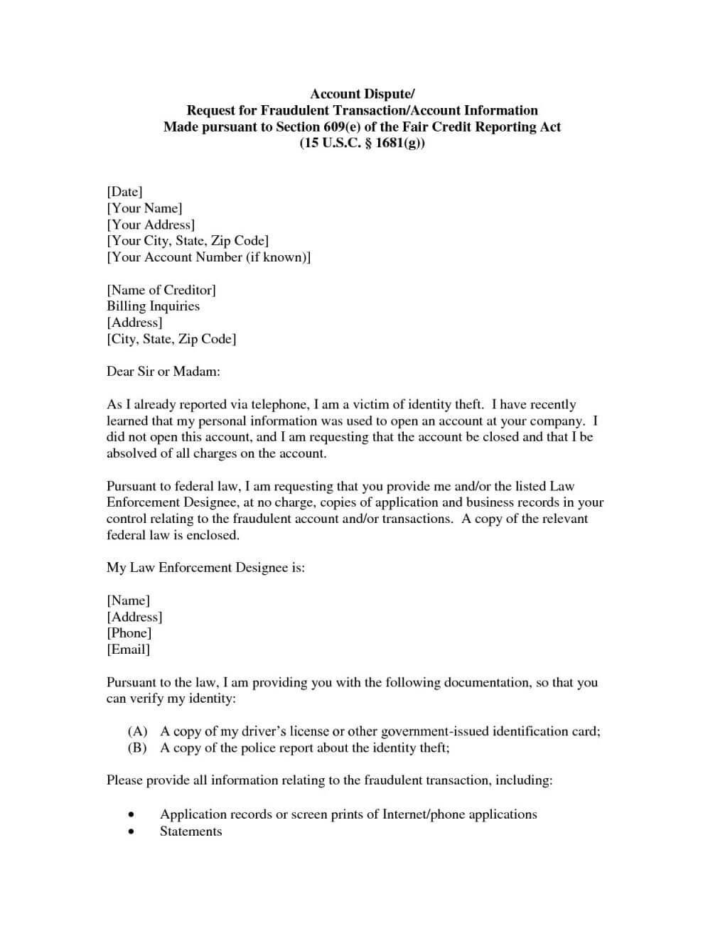 Credit Repair Letter Section 609 Dispute Sample Throughout 609 Dispute Letter Template