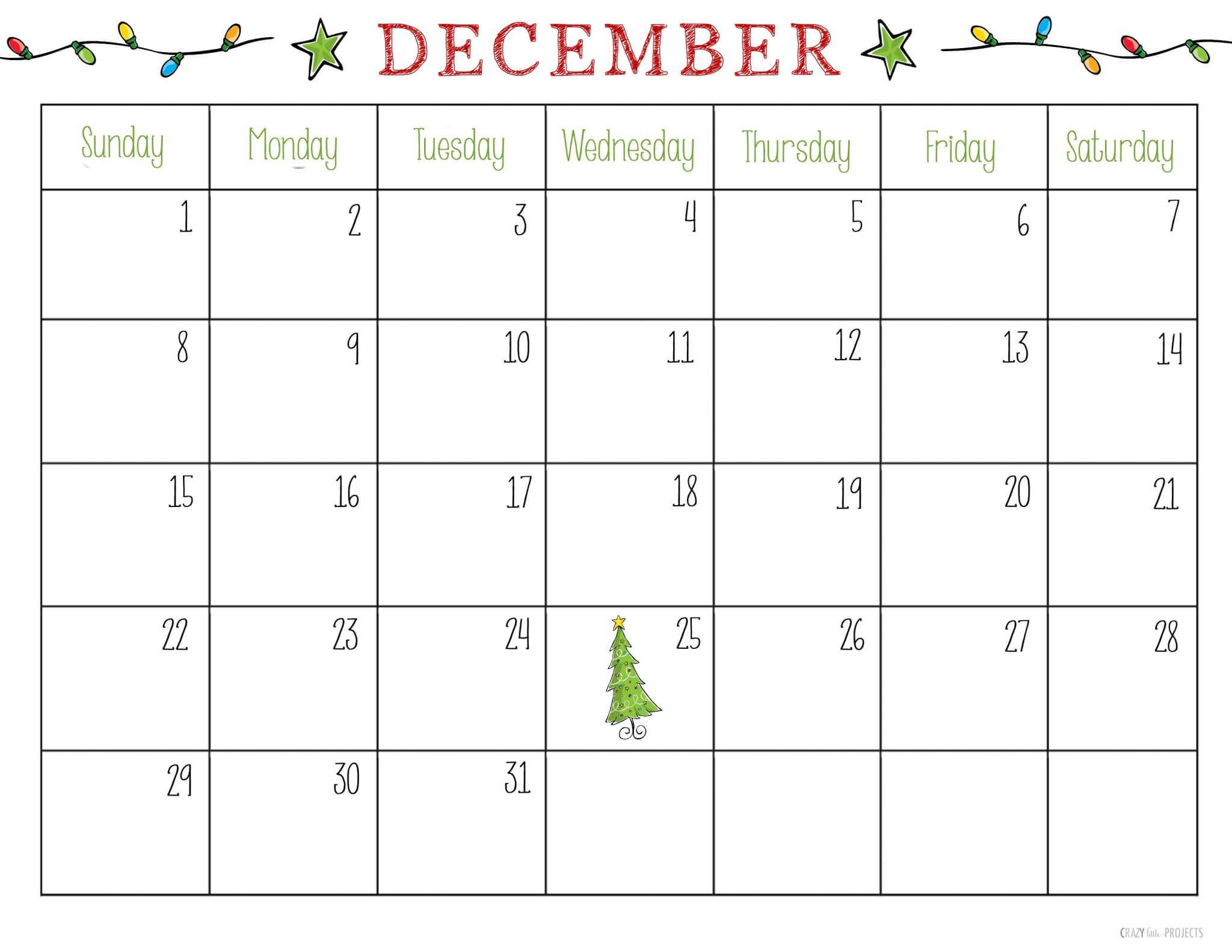 December 2018 Calendar Page For Kids – Free Printable For Blank Calendar Template For Kids