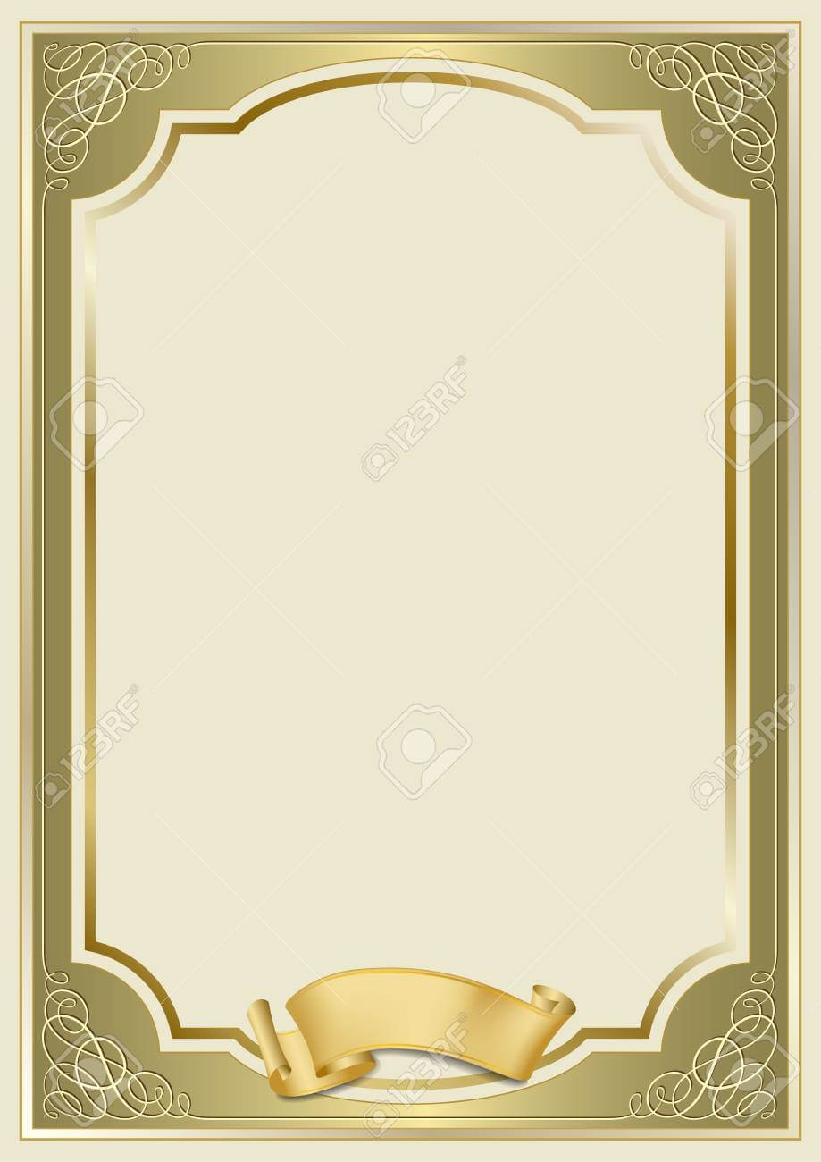 Decorative Rectangular Framework And A Scroll. Template For Diploma,.. Inside Certificate Scroll Template