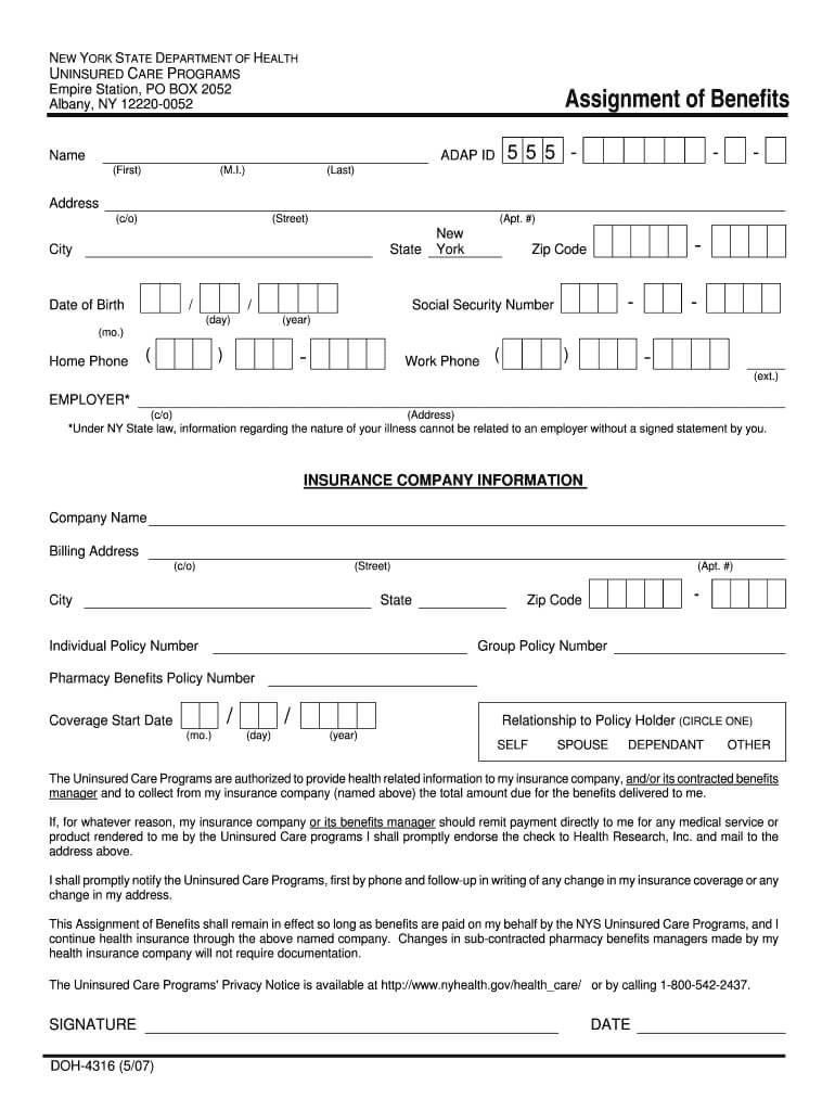Doh 4316 - Fill Online, Printable, Fillable, Blank | Pdffiller Inside Assignment Of Benefits Form Template