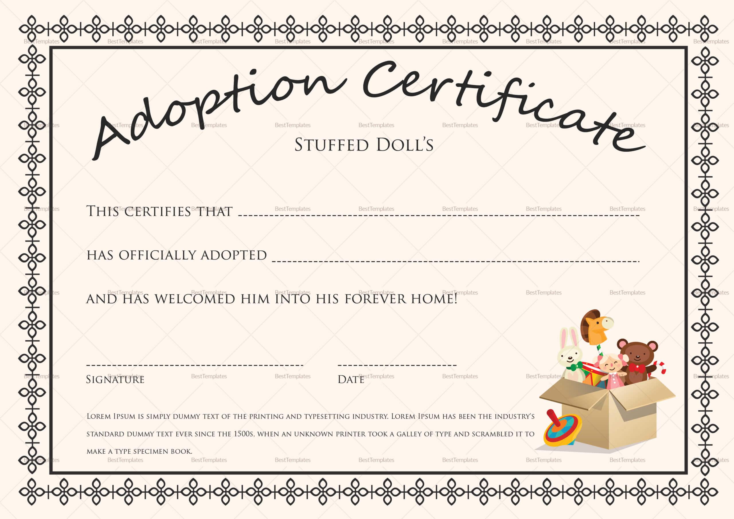 Doll Adoption Certificate Template Regarding Blank Adoption Certificate Template