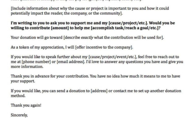 Donation Request Letters: Asking For Donations Made Easy! for Business Donation Letter Template