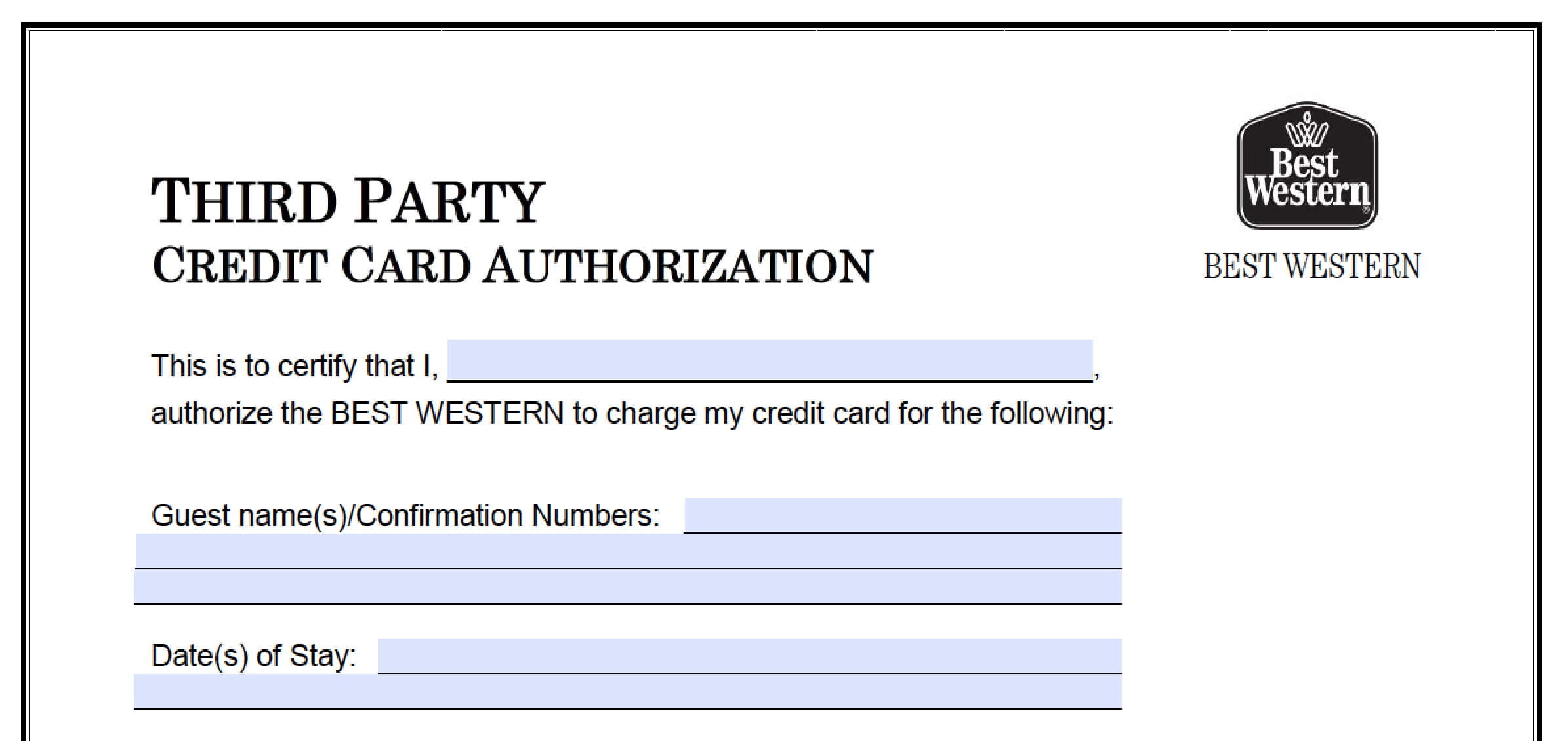 Download Best Western Credit Card Authorization Form Regarding Authorization To Charge Credit Card Template