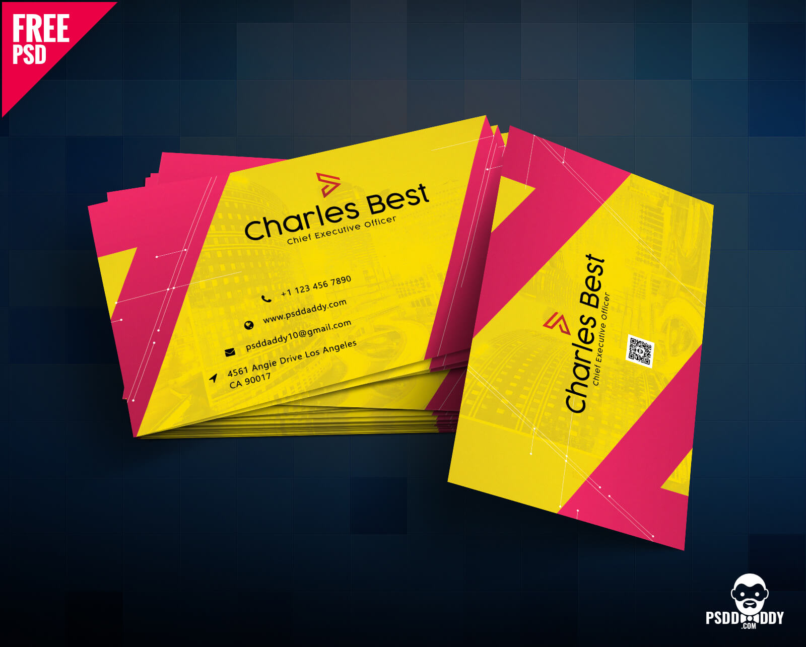 Download] Creative Business Card Free Psd | Psddaddy Throughout Business Card Size Photoshop Template
