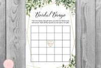 Download Greenery Bridal Shower Bingo in Blank Bridal Shower Bingo Template