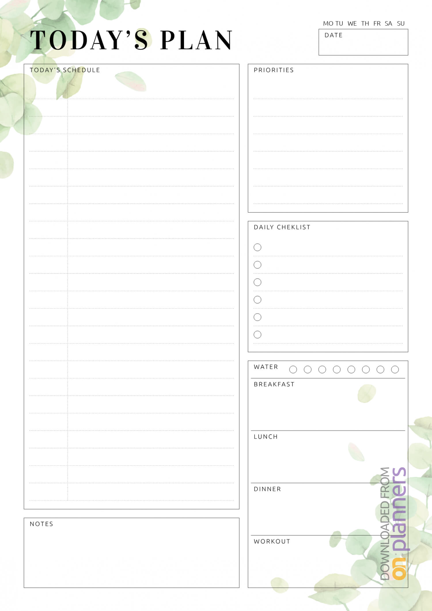 Download Printable Undated Planner With Daily Checklist Pdf Inside Blank Checklist Template Pdf