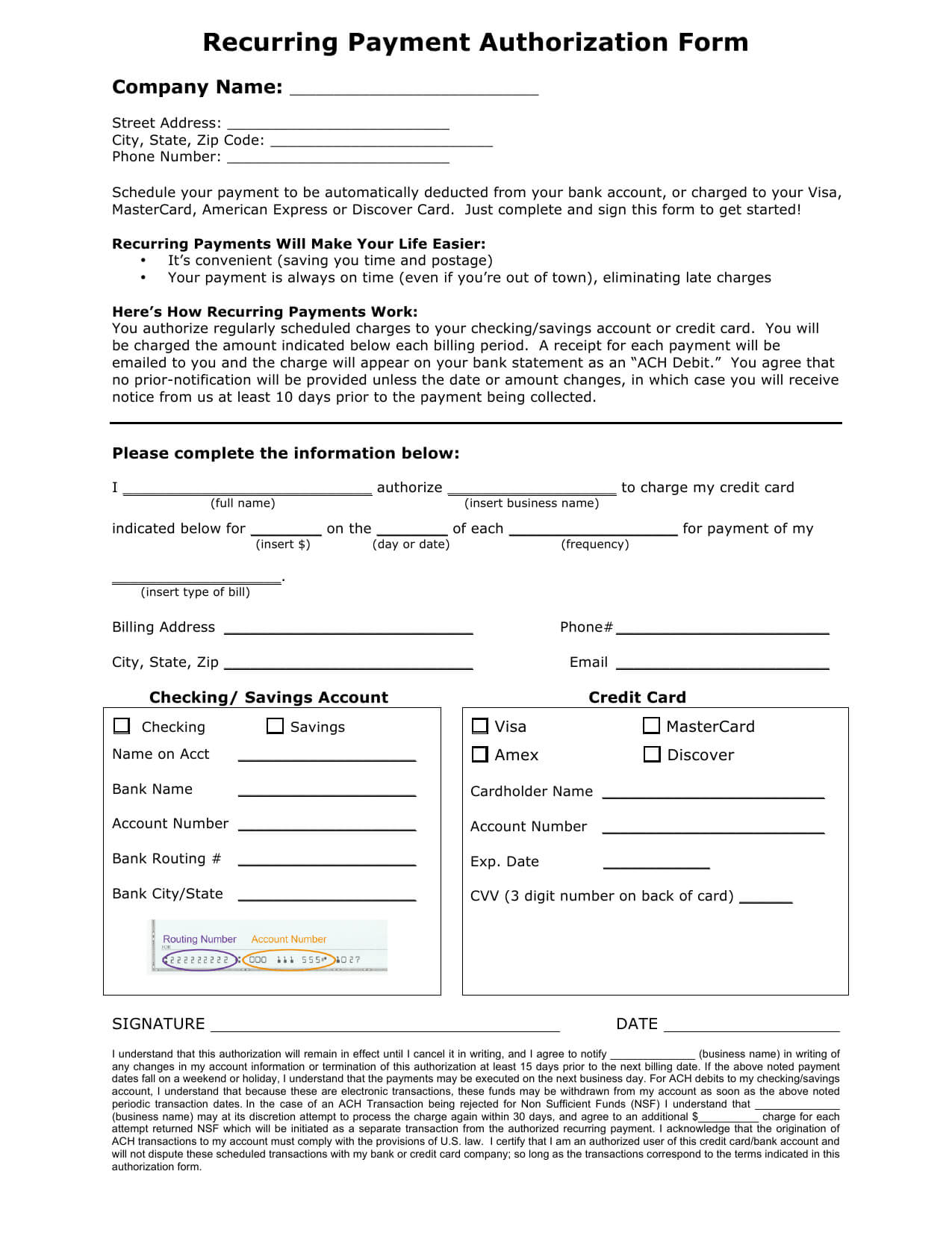 Download Recurring Payment Authorization Form Template Pertaining To Authorization To Charge Credit Card Template