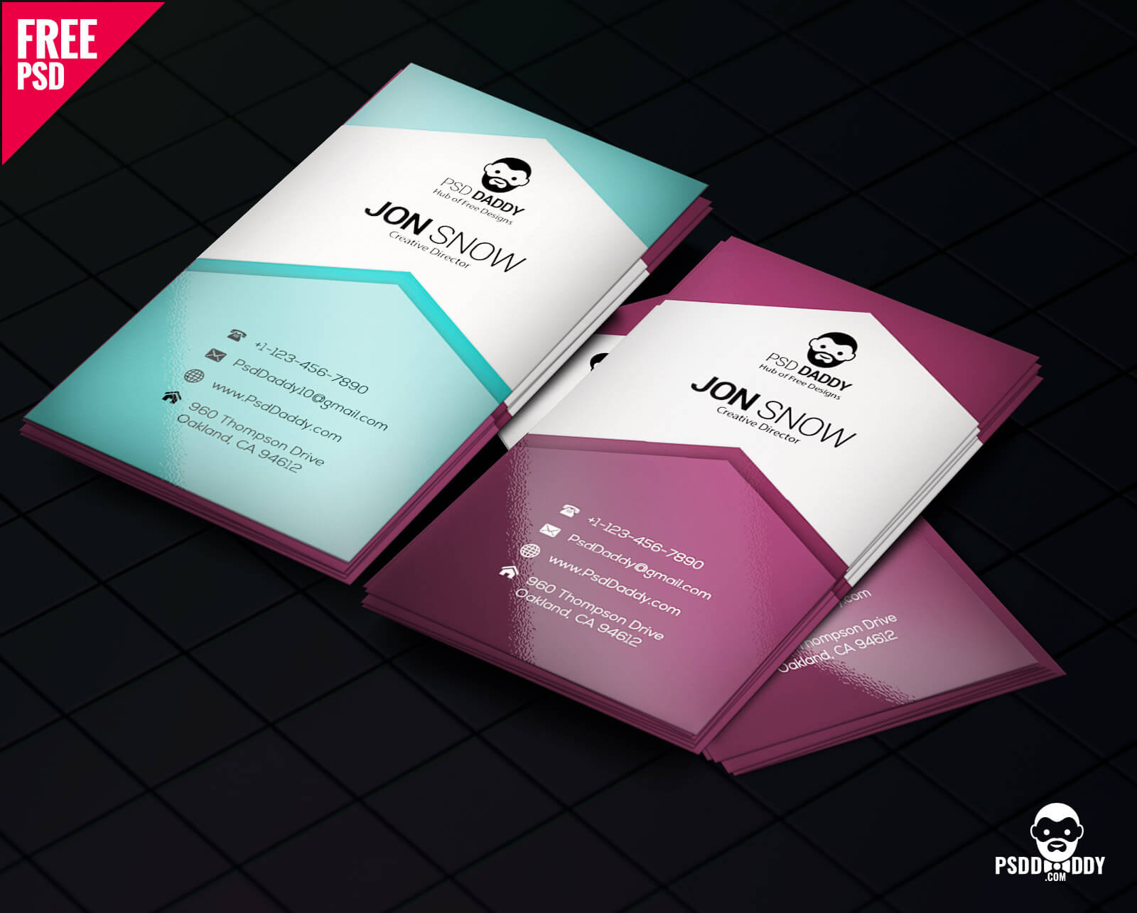 Download]Creative Business Card Psd Free | Psddaddy Pertaining To Business Card Template Size Photoshop