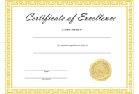 ❤️ Free Sample Certificate Of Excellence Templates❤️ for Award Of Excellence Certificate Template