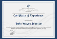 ❤️free Printable Certificate Of Experience Sample Template❤️ within Certificate Of Experience Template