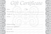 Editable And Printable Silver Swirls Gift Certificate Template within Black And White Gift Certificate Template Free