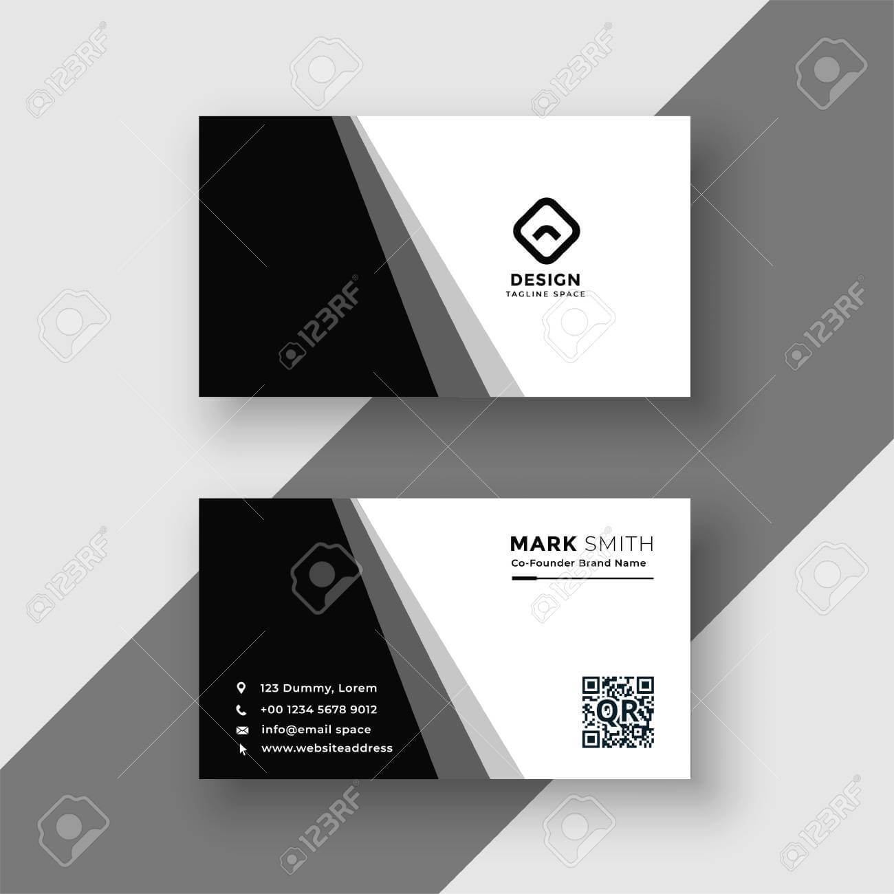 Elegant Black And White Business Card Template In Black And White Business Cards Templates Free