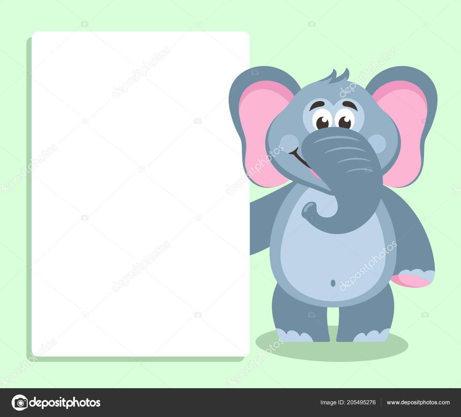 Elephant White Board Template Your Text Cartoon Character Pertaining To Blank Elephant Template