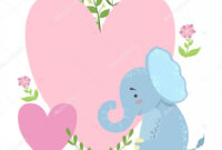 Elephant With Two Big Hearts And Plants Vector Sticker with regard to Blank Elephant Template