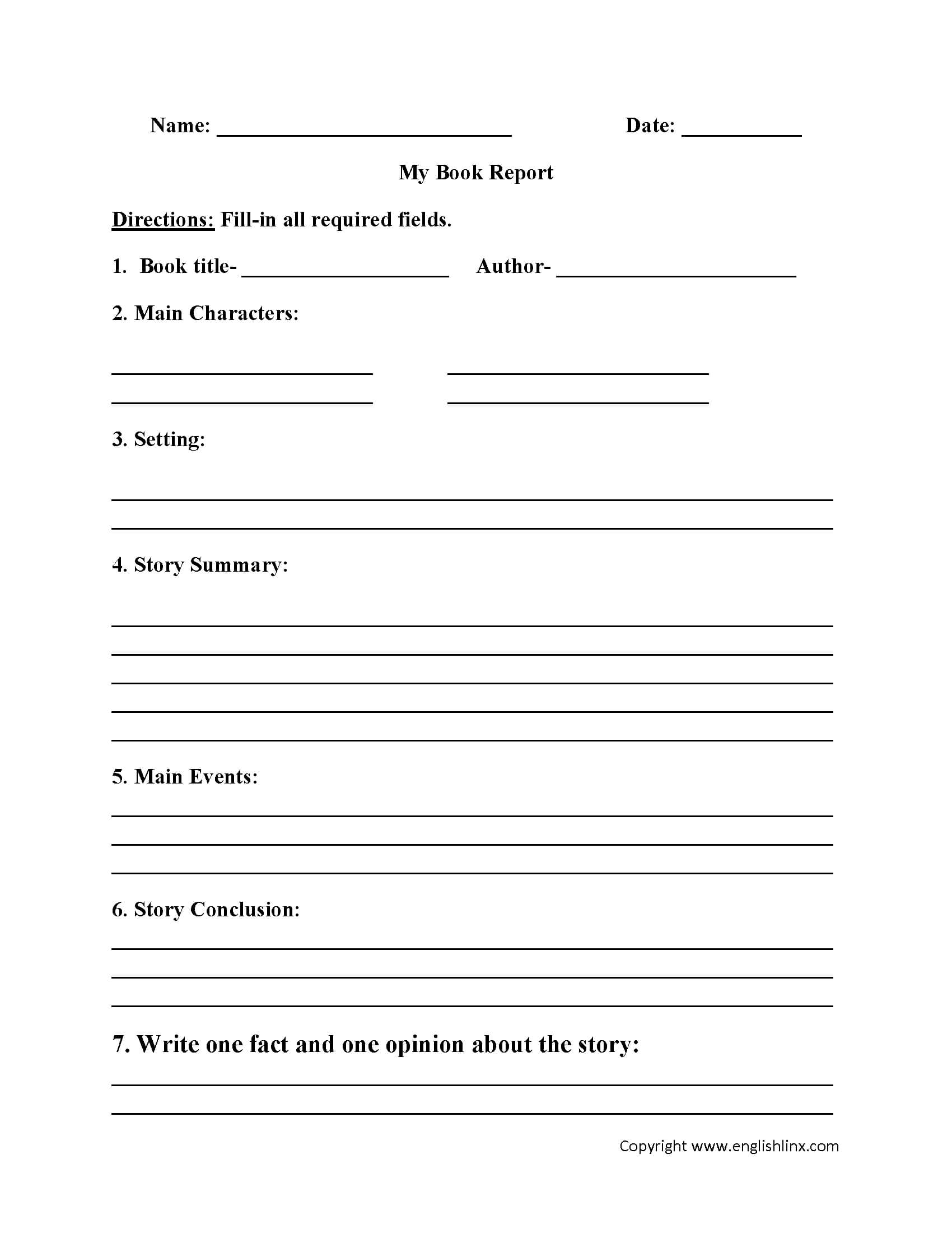 Englishlinx   Book Report Worksheets For 6Th Grade Book Report Template