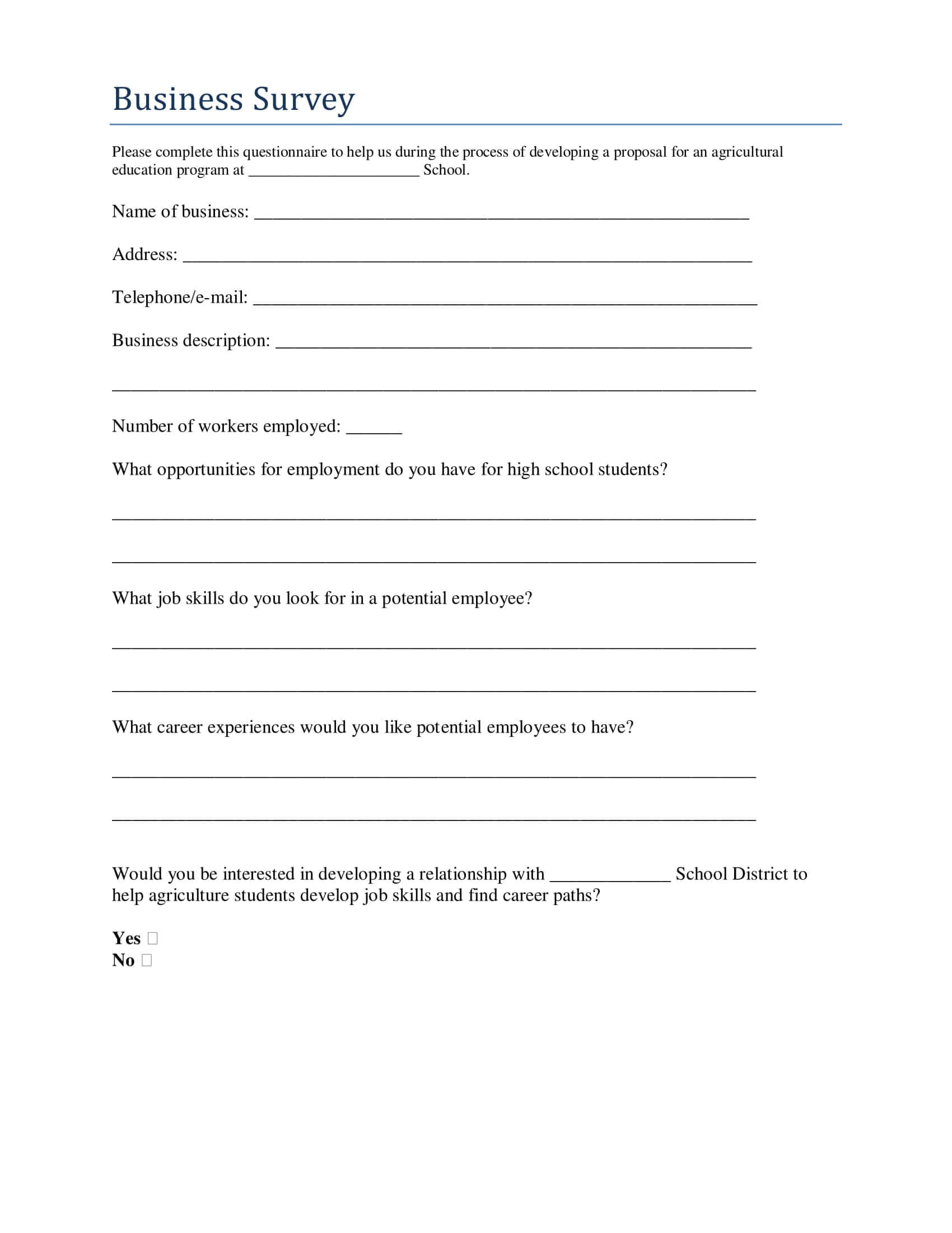 Examples On How To Conduct A Business Survey | Examples With Regard To Business Process Questionnaire Template