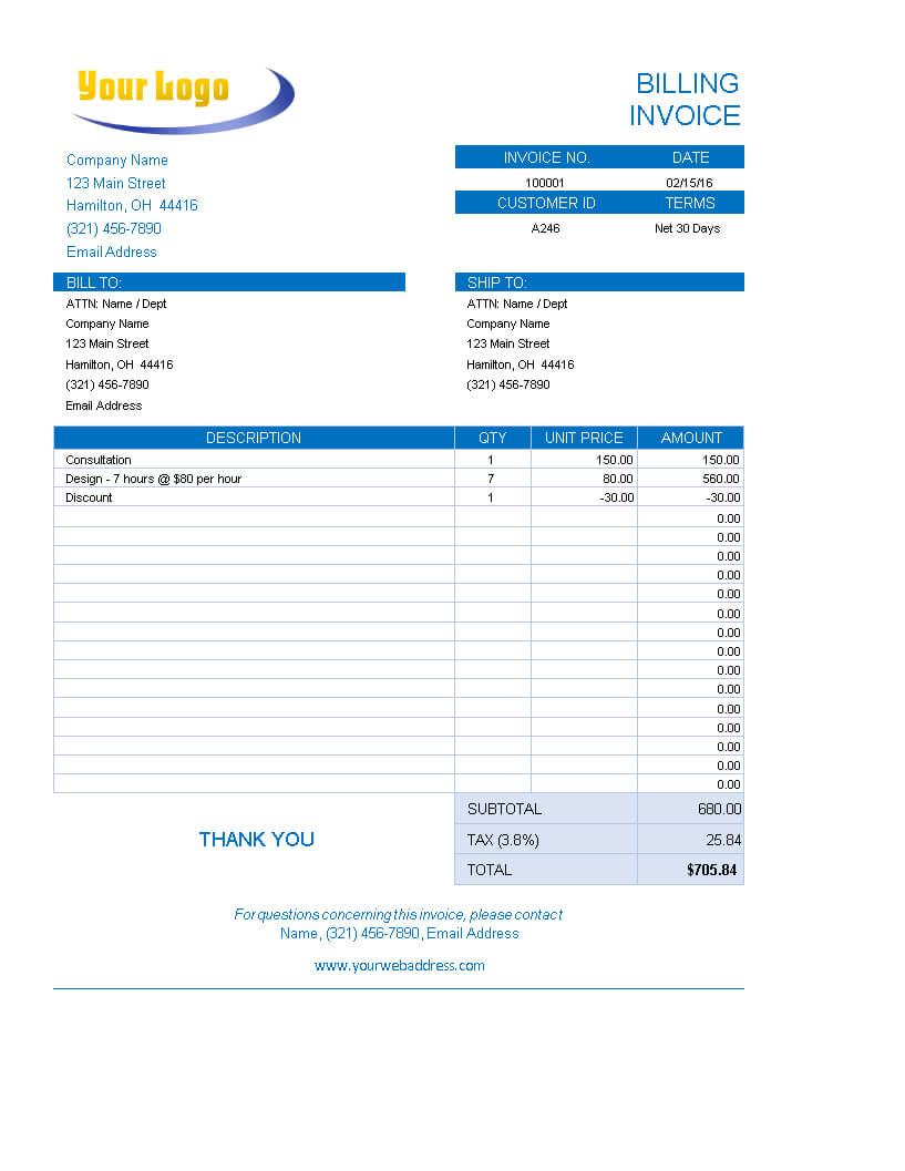Excel Bakery Invoice | Templates At Allbusinesstemplates With Regard To Bakery Invoice Template