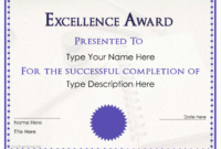 Excellence Award Certificate | Templates At intended for Award Of Excellence Certificate Template