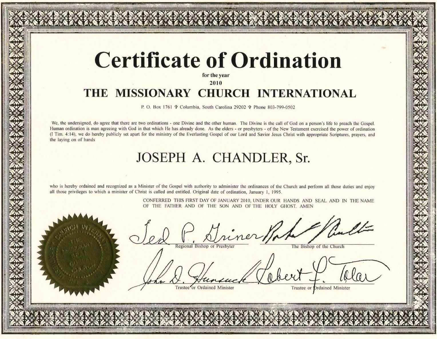 Exceptional Printable Ordination Certificate | Dan's Blog Pertaining To Certificate Of Ordination Template
