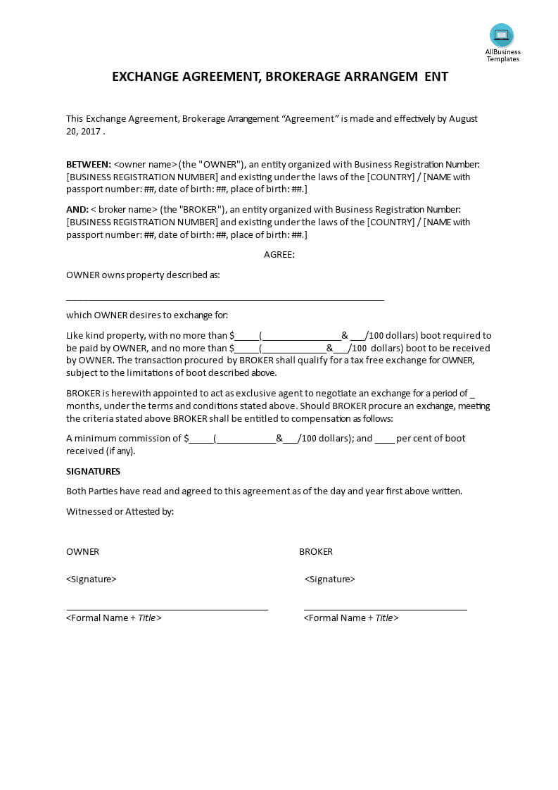 Exchange Agreement, Brokerage Agreement | Templates At Throughout Business Broker Agreement Template