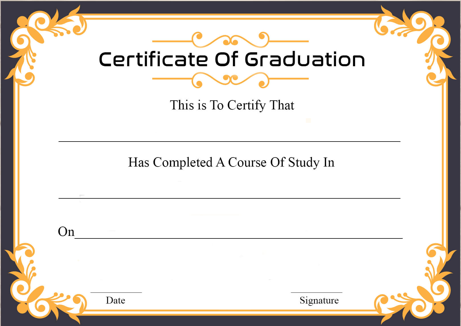 🥰free Certificate Template Of Graduation Download🥰 With Regard To Certificate Templates For School