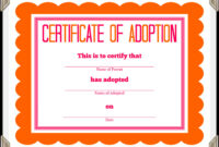 🥰free Printable Sample Certificate Of Adoption Template🥰 throughout Adoption Certificate Template